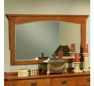 Rustic Mission Oak Beveled Mirror