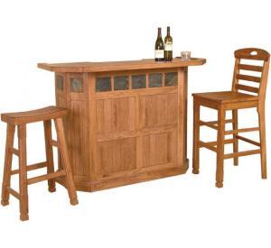Rustic Oak & Slate Serving Bar