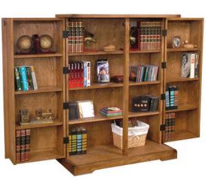 Rustic Oak & Slate Folding Bookcase