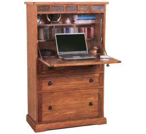 Rustic Oak Laptop Armoire