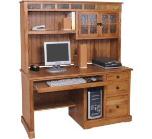 Rustic Oak & Slate Complete Computer Desk w/Hutch