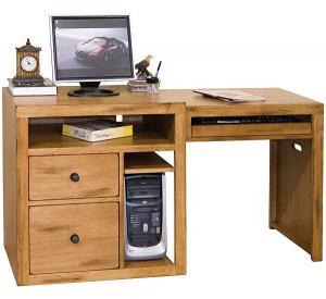 Rustic Oak & Slate Expandable Computer Desk