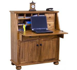 Rustic Oak & Slate Secretary Desk