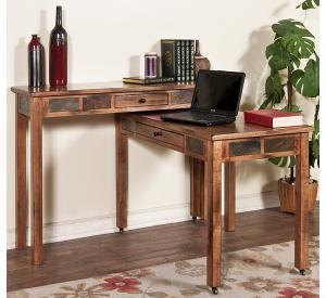 Rustic Oak & Slate Console Desk w/Casters