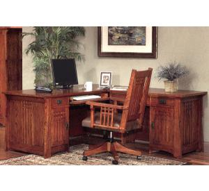 Rustic Mission Oak Computer Desk w/Return
