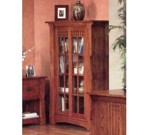 Rustic Mission Oak Sliding Door Bookcase