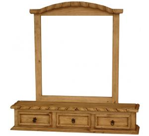 Mexican Rustic Pine Rope Edge Jewelry Box with Mirror Frame