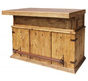 Mexican Rustic Pine Cantina Bar with Stone Top
