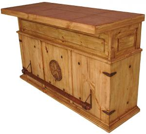 Mexican Rustic Pine Cantina Star Bar with Stone Top