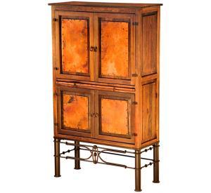 Mexican Copper Inlaid Laredo Cantina Cupboard