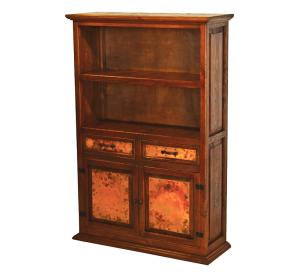 Mexican Copper Inlaid Country Cupboard with Shelves