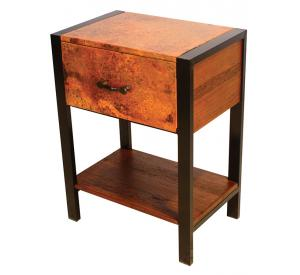 Mexican Copper Inlaid Flat Iron Nightstand