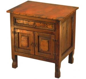 Mexican Copper Inlaid Country Nightstand