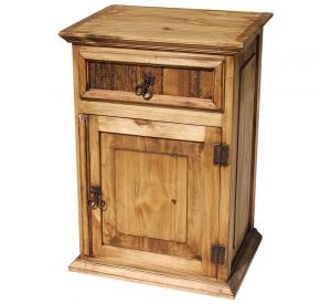 Tall Paris Mexican Rustic Pine Nightstand (Door opens Right)
