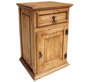 Tall Liso Mexican Rustic Pine Nightstand (Door opens Right)