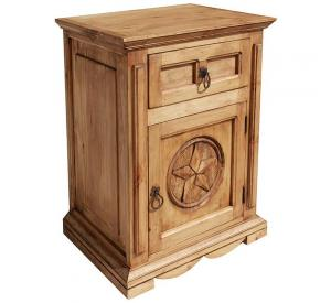 Mansion Star Mexican Rustic Pine Nightstand (Door opens Right)