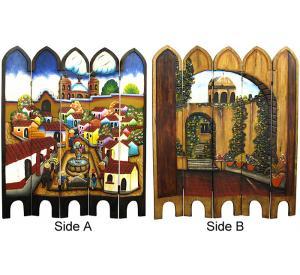 Mexican Rustic Carved Pueblo Room Divider
