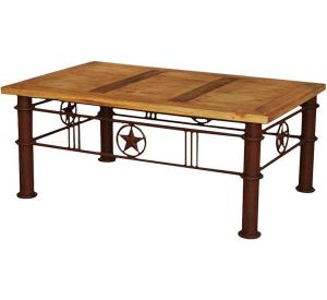 Rustic Furniture Iron Star Mexican Rustic Pine Coffee Table