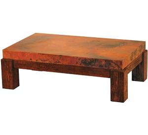 Rustic Furniture Mexican Copper Inlaid Houston Coffee Table