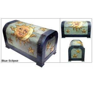 Mexican Rustic Blue Eclipse Carved Trunk