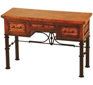 Mexican Copper Inlaid Pablo Writing Desk