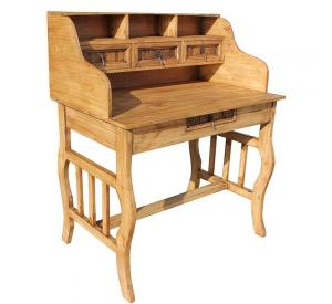 Lira Mexican Rustic Pine Desk with Hutch