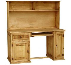 Computer Mexican Rustic Pine Desk with Hutch