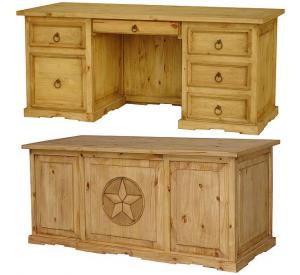 Texas Executive Mexican Rustic Pine Desk with Drawer