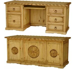 3 Star Texas Executive Mexican Rustic Pine Desk w/ Rope Top & Keyboard