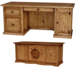 Star Computer Mexican Rustic Pine Desk with Drawer
