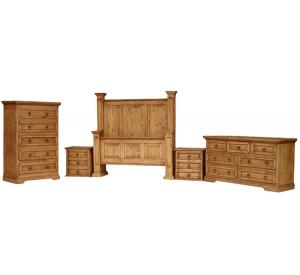 Oasis Mexican Rustic Pine Bedroom Set with King Oasis Bed