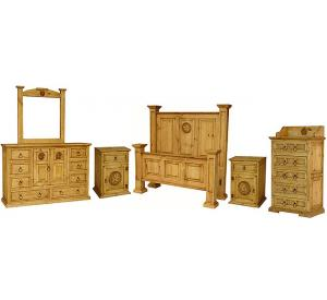 Oasis Star Mexican Rustic Pine Bedroom Set with King Oasis Star Bed