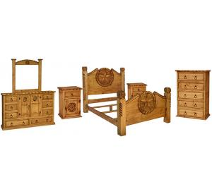 Texana Mexican Rustic Pine Bedroom Set with King Lasso Bed
