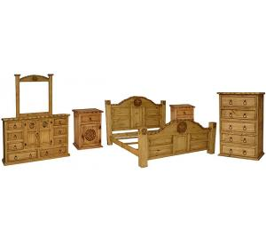 Rodeo Mexican Rustic Pine Bedroom Set with King Rodeo Star Bed
