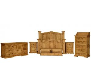 Mansion Mexican Rustic Pine Bedroom Set with King Mansion Bed