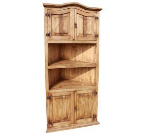Lg. Corner Mexican Rustic Pine Bookcase