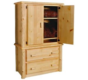 Rustic Pine Log Northwoods 2-Drawer Armoire