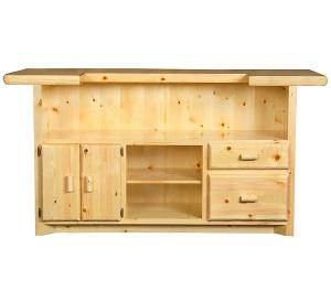 Rustic Pine Log Bar with Locked Cabinet