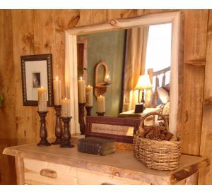Rustic Aspen Log Dresser Mount Mirror