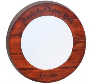 Rustic Oak Cask & Crown Mirror