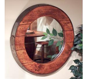 Rustic Oak Barrel Ring Mirror