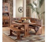 Rustic Oak & Slate Breakfast Nook Set with Table & Side Bench