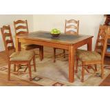 Rustic Oak Slate Top Dining Table