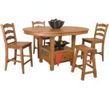 Rustic Oak & Slate Oval Family Table with Storage