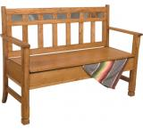 Rustic Oak & Slate Deacon's Bench with Storage