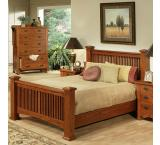 Rustic Mission Oak Classic Slat Bed