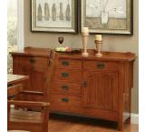 Rustic Mission Oak Six-Drawer Sideboard