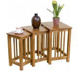 Rustic Oak & Slate Tall 3-Piece Nesting Table