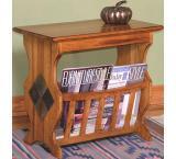 Rustic Oak & Slate Magazine Table with Slate