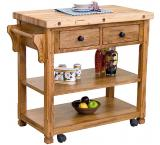 Rustic Oak Butcher Block Cart